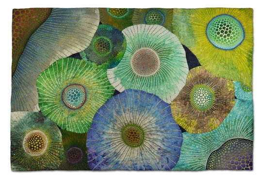 Crescendo by Betty Busby will be on display as part of the Pushing the Surface contemporary quilt exhibit running May 18 to July 28 at the Johnson-Humrickhouse Museum.