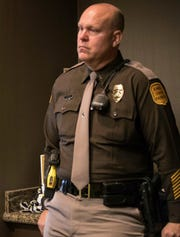 In this Dec. 14, 2017 photo, Iowa State Patrol Lt. Joel Ehler listens to a briefing about the Oakland, Iowa, school bus fire at the Hilton Garden Inn in Council Bluffs, Iowa. The patrol is conducting an internal investigation into whether Joel Ehler is in compliance with its residency policy.