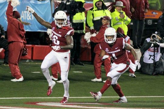 Arkansas wide receiver La'Michael Pettway (16) celebrates a touchdown last year against Ole Miss.