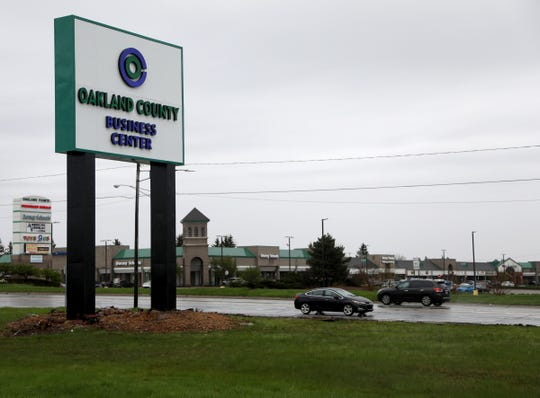The new Oakland County Business Center that replaces the old Summit Place Mall mall sign in Waterford, Michigan on Tuesday, May 7, 2019.