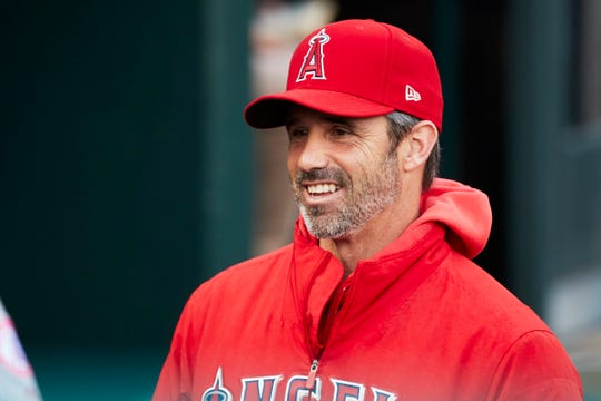 Los Angeles Angels manager Brad Ausmus (12) walks in the dugout prior to the game against the Detroit Tigers at Comerica Park on Tuesday, May 7, 2019.
