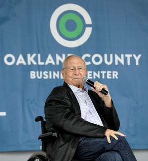 County Executive of Oakland County L. Brooks Patterson talks during the groundbreaking at the Oakland County Business Center at the former Summit Place Mall in Waterford, Michigan on Tuesday, May 7, 2019.
