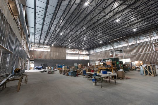 Future location of the practice area with two basketball courts inside of the Henry Ford Detroit Pistons Performance Center in Detroit, Tuesday, May 7, 2019.