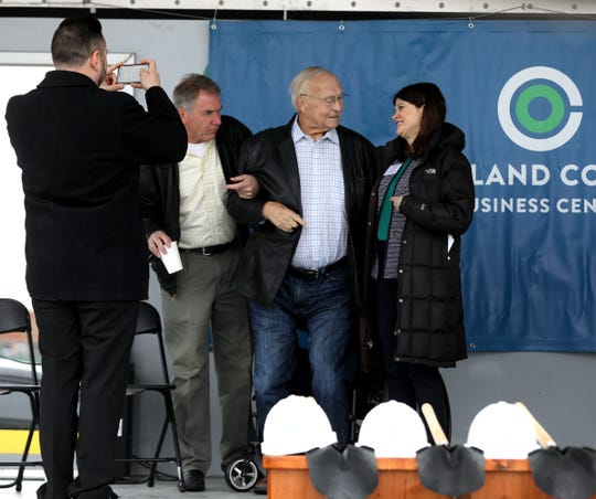 County Executive of Oakland County L. Brooks Patterson and Rep. Haley Stevens talk before the groundbreaking at the Oakland County Business Center at the former Summit Place Mall in Waterford, Michigan on Tuesday, May 7, 2019.