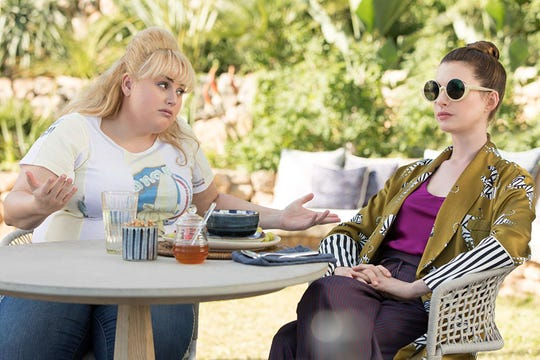 "Rebel Wilson and Anne Hathaway in ""The Hustle."""
