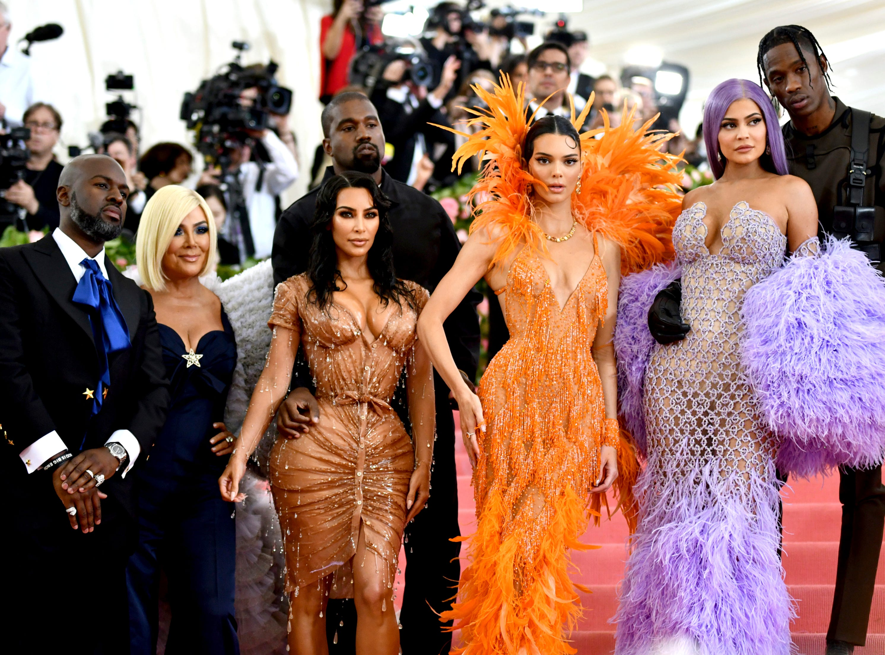 """Corey Gamble, from left, Kris Jenner, Kim Kardashian, Kendall Jenner, Kylie Jenner and Travis Scott attend The Metropolitan Museum of Art's Costume Institute benefit gala celebrating the opening of the """"Camp: Notes on Fashion"""" exhibition on Monday, May 6, 2019, in New York."""