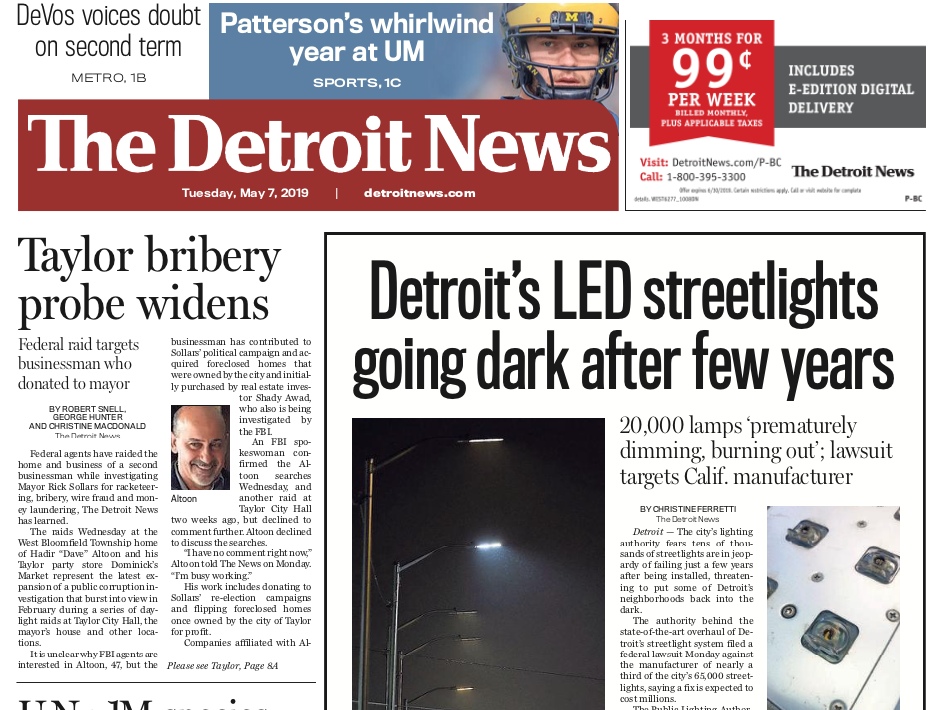 The front page of the Detroit News on Tuesday, May 7, 2019