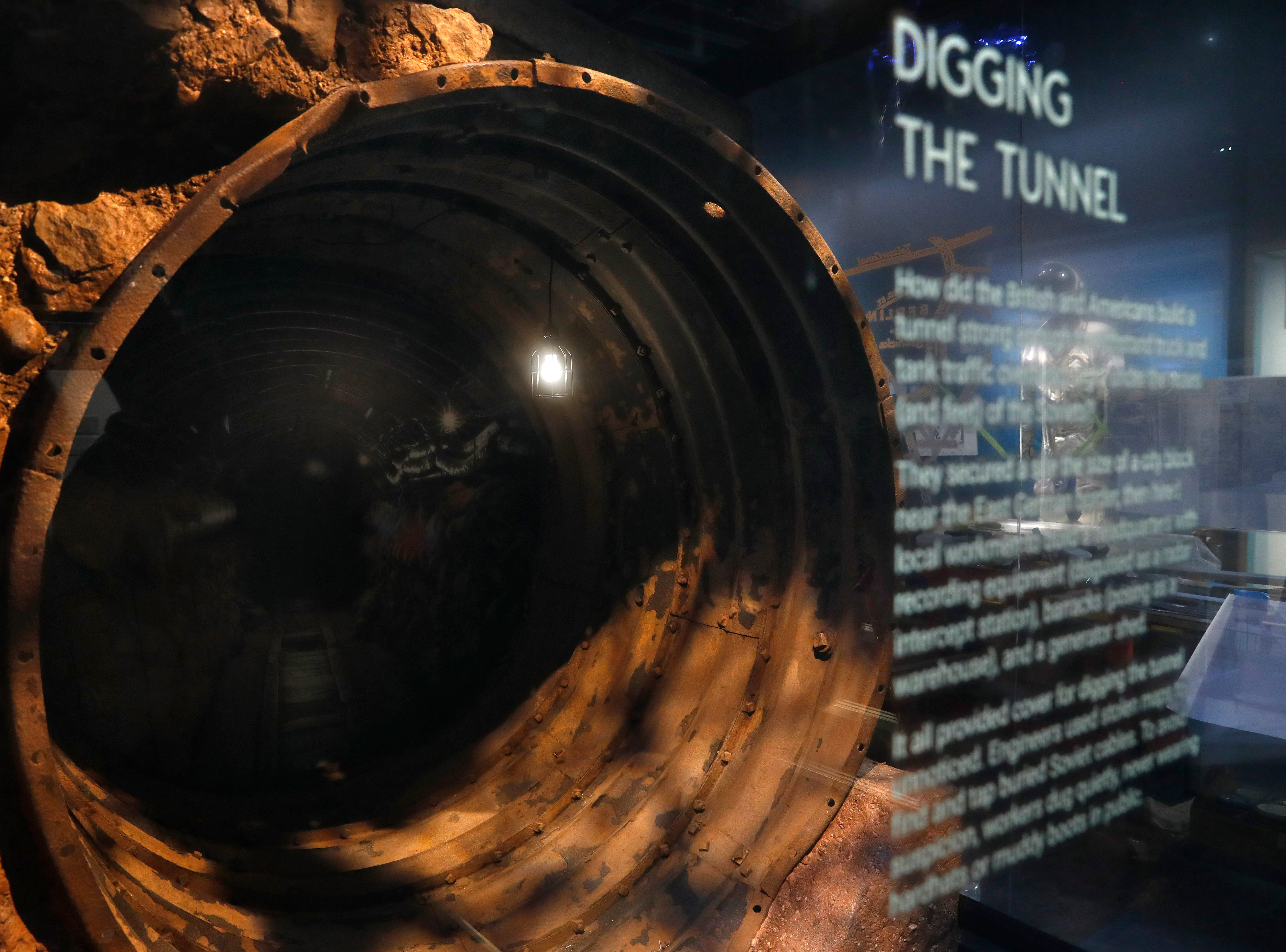 A piece of tunnel into East Germany that was used to tap into Soviet and East German communications is among the exhibits.