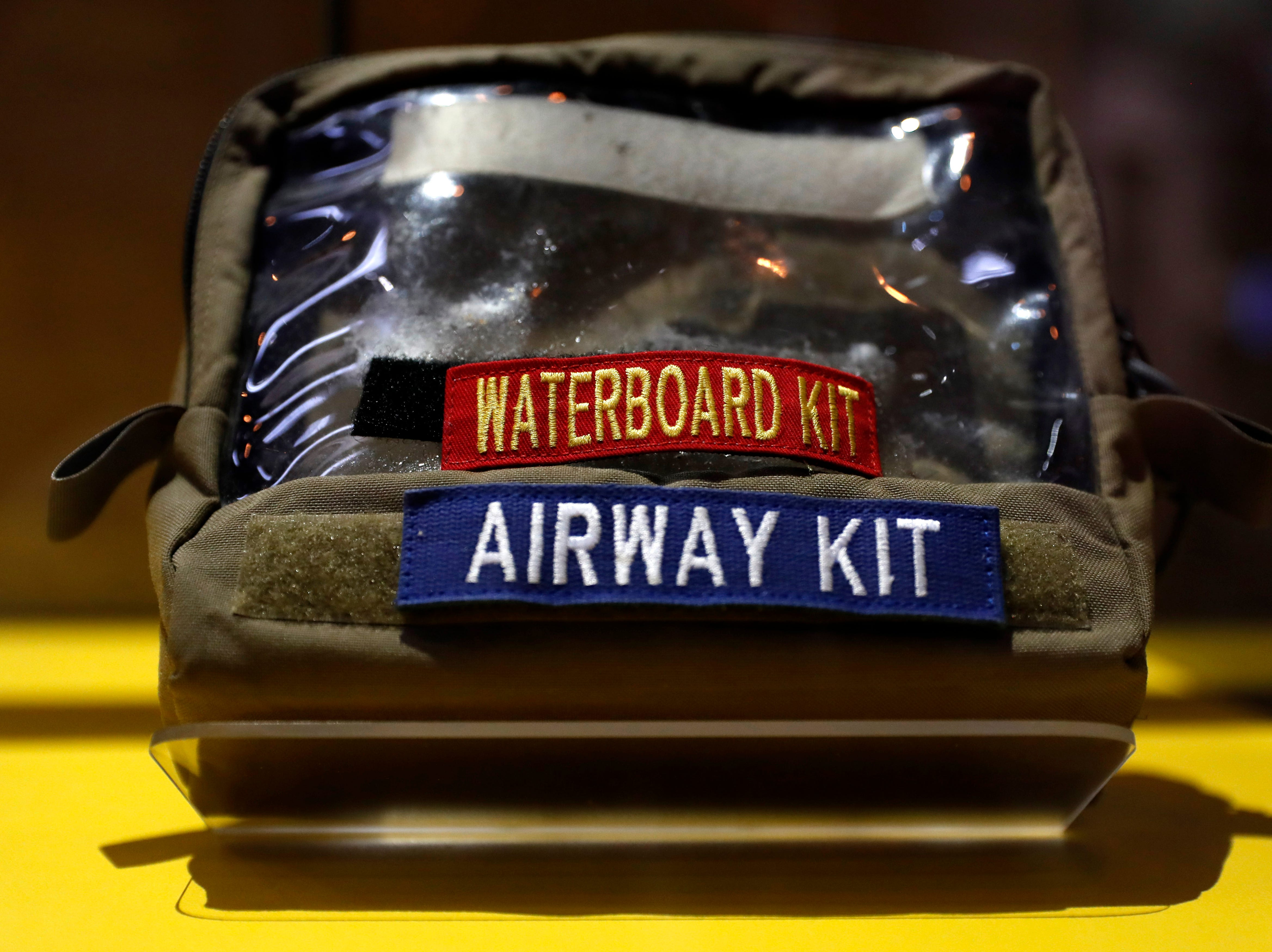 A waterboard kit is part of an exhibit on torture in the new International Spy Museum.