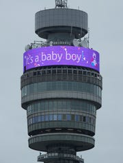 The BT Tower displays a message in celebration of the birth of Prince Harry, and Meghan, the Duchess of Sussex's new baby boy, in London, Monday May 6, 2019.
