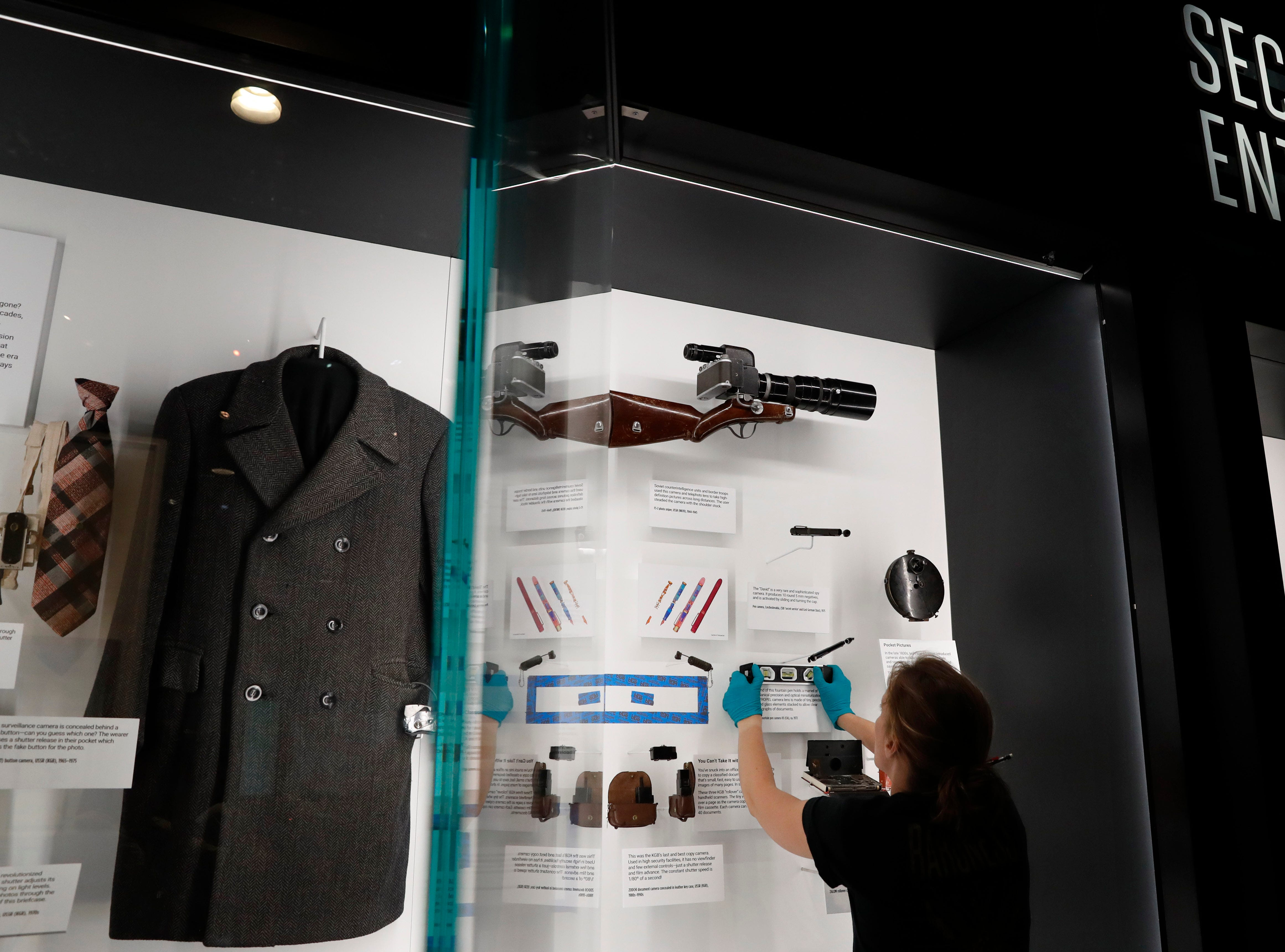 Exhibits are installed in the new International Spy Museum in Washington, which offers a window into covert operations, counterterrorism, intelligence analysis, cyber espionage, intelligence failures and even highly debated legal and ethical issues, such as waterboarding.