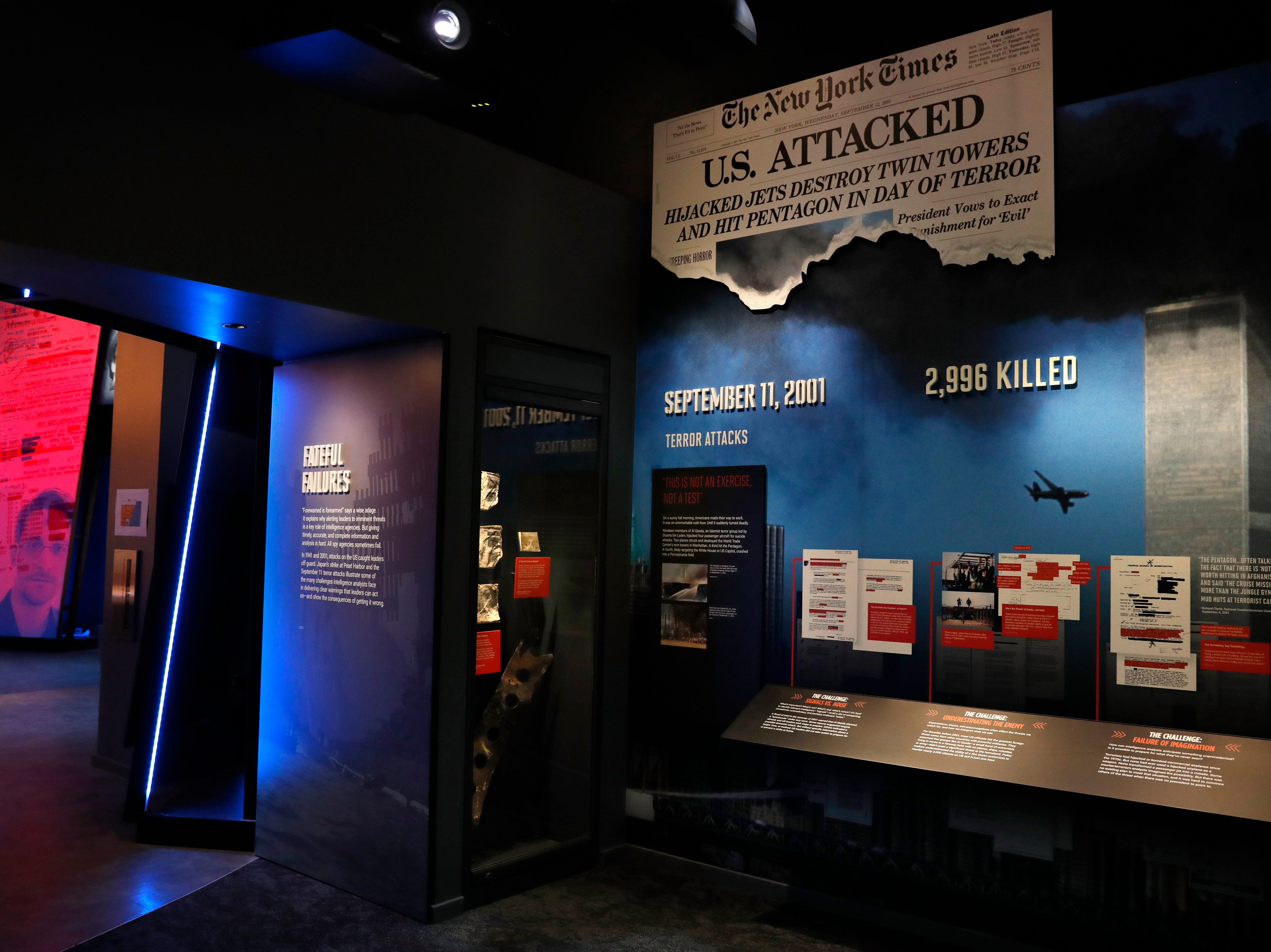 Items from 9/11, including the flight manuals and one boarding pass used by the hijackers of the planes that went into the World Trade Center on September 11, 2001,  are among the items that will be shown at the new International Spy Museum. The items are being displayed for the first time and are on loan from the FBI.