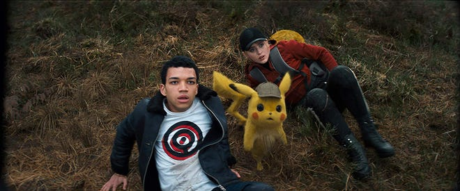 """Justice Smith and Kathryn Newton in """"Detective Pikachu."""""""