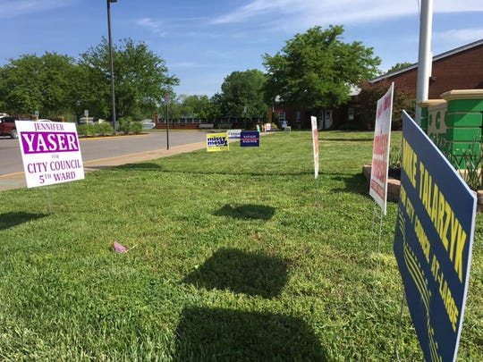 During the 2019 city primary there didn't seem to be much campaigning at many of the voting centers. This was the scene outside Caze Elementary School.