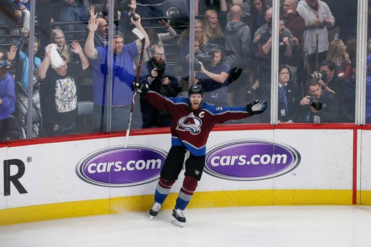 Gabe Landeskog of the Colorado Avalanche celebrates his goal in overtime Monday night that forced a Game 7 in a second-round playoff series with the San Jose Sharks at 7 p.m. Wednesday in San Jose, Calif.