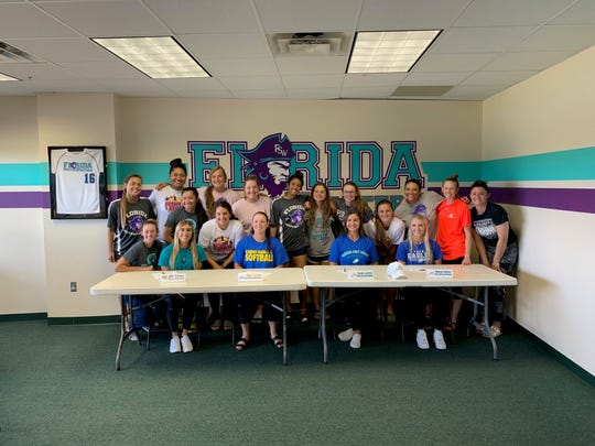 The FSW softball team congratulates their four teammates on their next steps ahead in softball. From left to right: Ali Yawn will be attending Wagner, Kelsi Collins will be going to Embry-Riddle, and Sarah Lawton and Madison Johnson will be headed to FGCU.