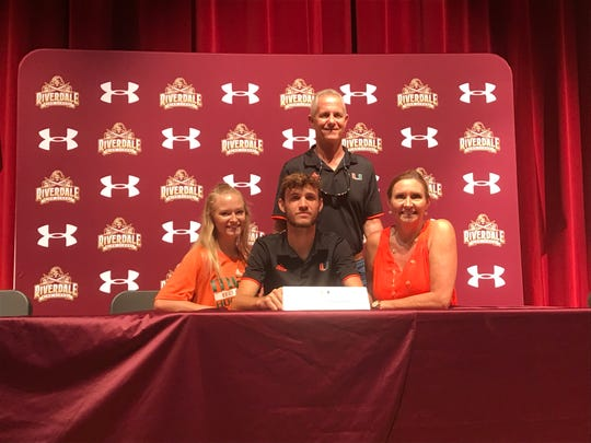 Riverdale pitcher Carson Palmquist made it official Tuesday to sign with the University of Miami after a standout career with the Raiders.