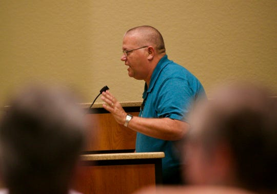 Kenny Revels speaks in support of Lee County Schools Superintendent during the Lee County School Board meeting on Tuesday, May 7, 2019, in Fort Myers.