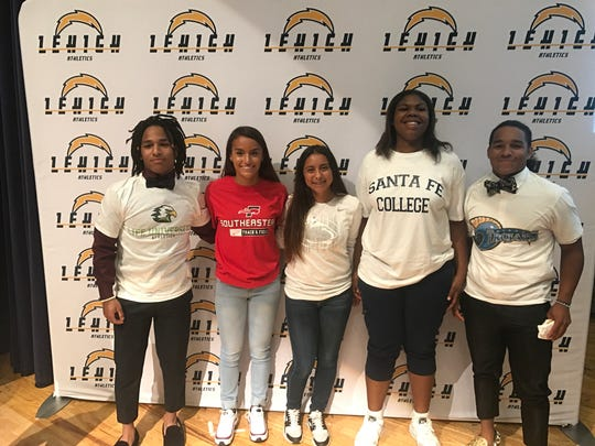 Five Lehigh seniors signed to continue their careers Tuesday; from left to right: Thomas Barco (Life University, wrestling), Briana Ramos (Southeastern, track and field), Jasmin Salazar (Penn State Beaver, softball), Aliesha Curry (Santa Fe, women's basketball), Emilio Barco (Northern Iowa Area CC, wrestling)