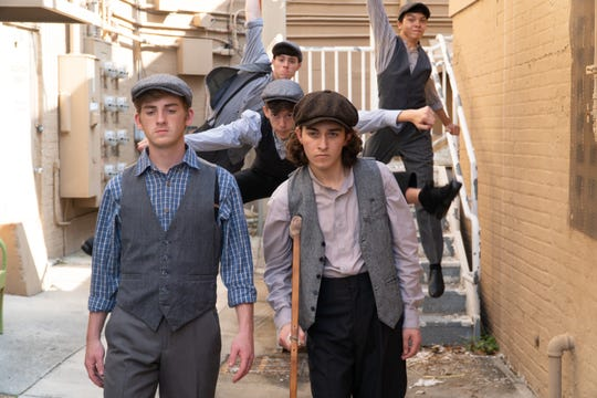 "Some of the newsies in Florida Rep's ""Newsies"": Sawyer True, Matteo Occhino, Caleb Edwards, Christian Dinsmore and Matthew Eakins."