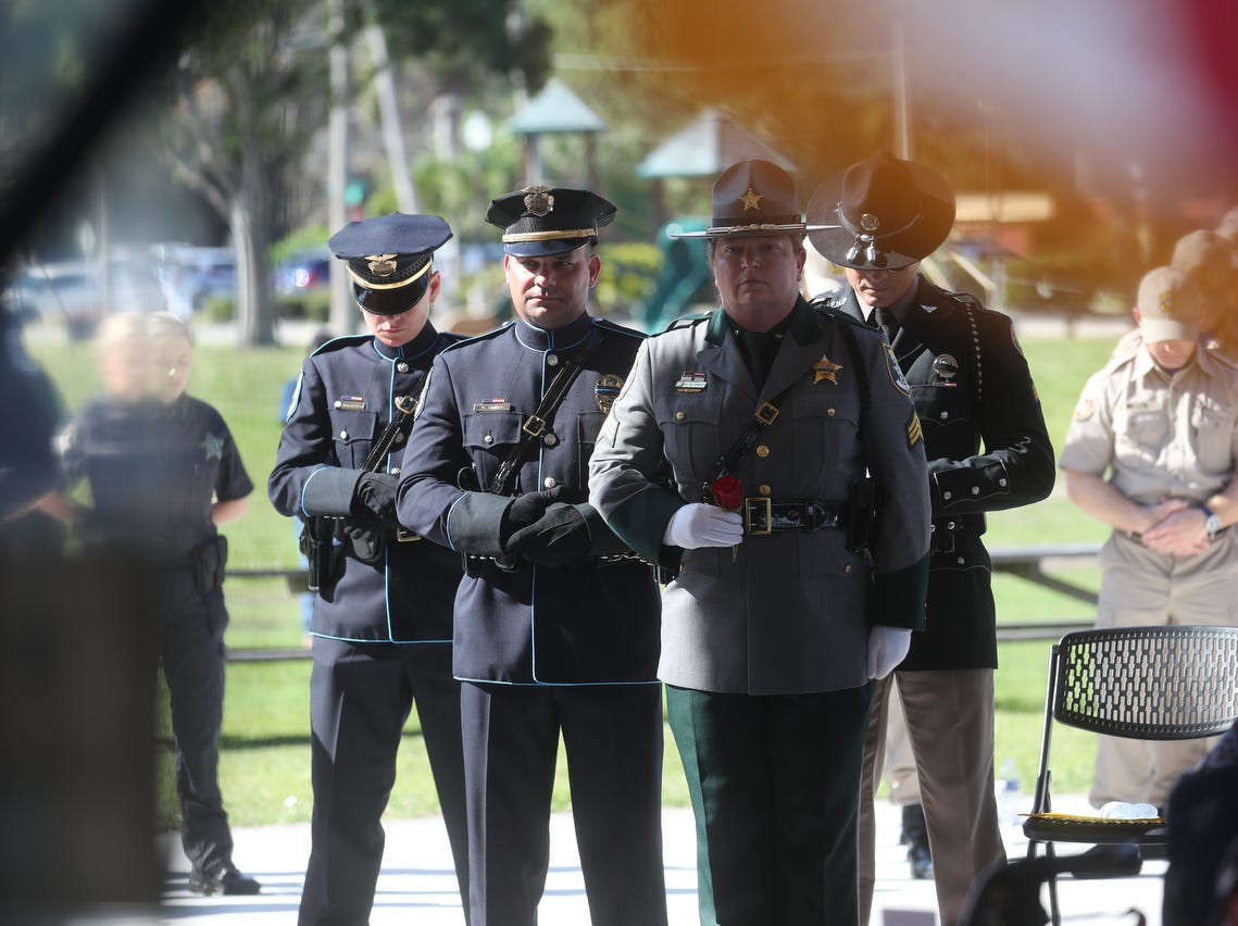Hundreds attended the Lee County Fallen Officer Memorial Ceremony at Centennial Park on Tuesday May, 7, 2019. Officers who have died in the line of duty from several law enforcement agencies were honored.