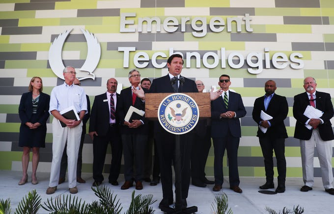 Gov. Ron DeSantis addresses the media after a water quality meeting at FGCU's Emergent Technologies Institute on Tuesday May, 7, 2019. He met with elected officials and other stakeholders in a closed door meeting.