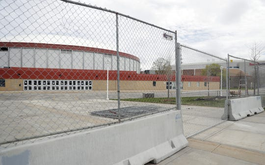 Fences are in place around the Brown County Veterans Memorial Arena and Shopko Hall in preparation for demolition that is expected to begin next week.