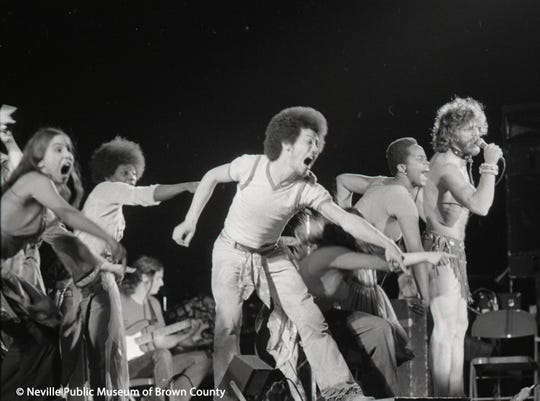 """The cast of Broadway musical """"Hair"""" performs in February 1976 at Brown County Veterans Memorial Arena. The show wasn't without controversy."""