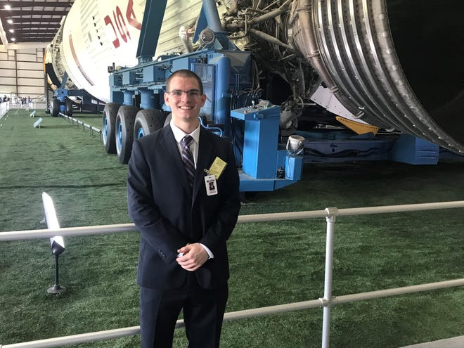 Former De Pere running back Andrew Rose, pictured after his interview at the Johnson Space Center in Houston.
