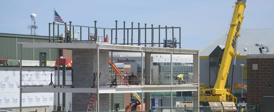 Construction of a new loading dock entrance continues at Lambeau Field on May 7, 2019.