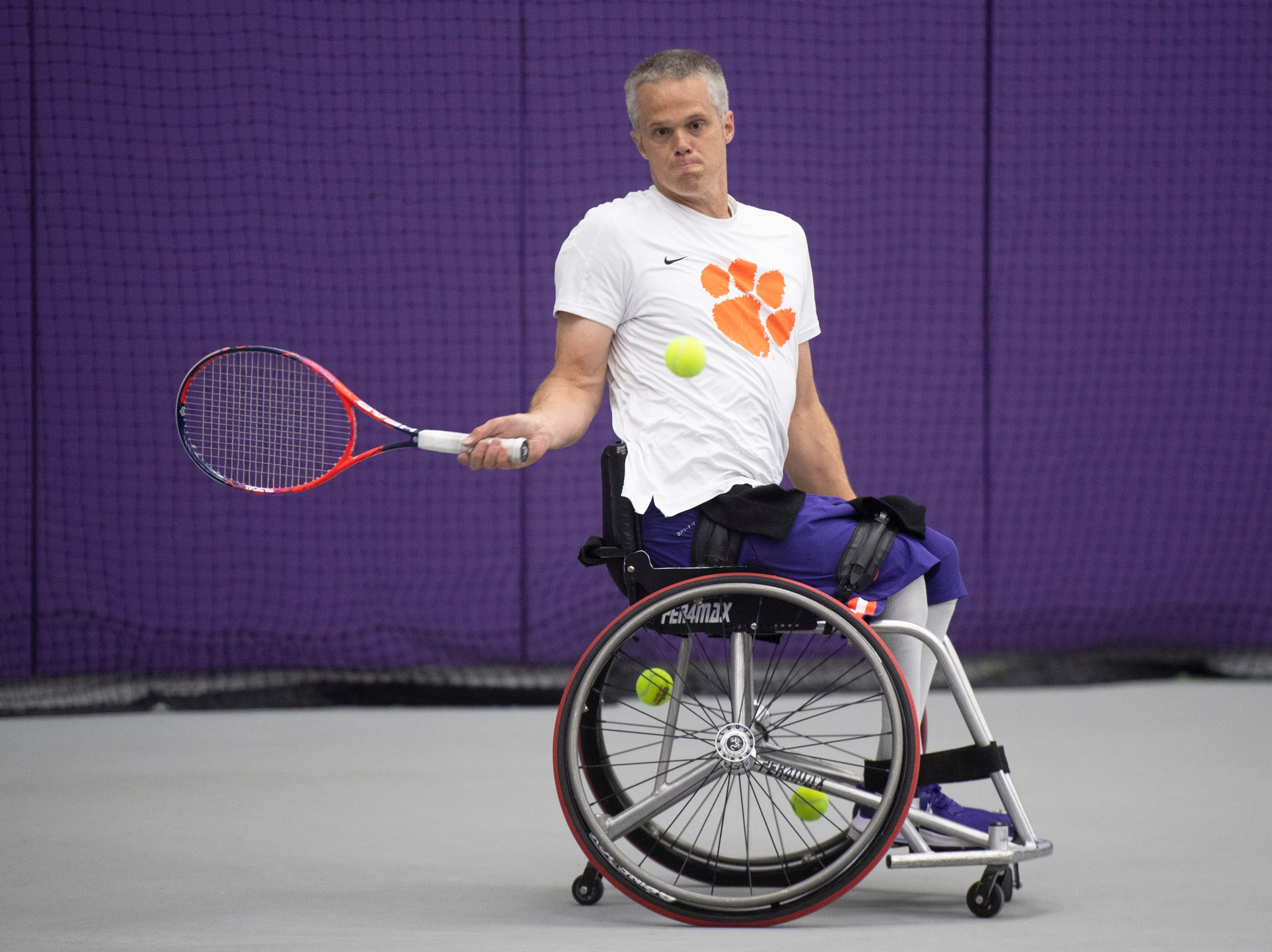 Jeff Townsend hits during tennis practice at Clemson University Friday, May 3, 2019.