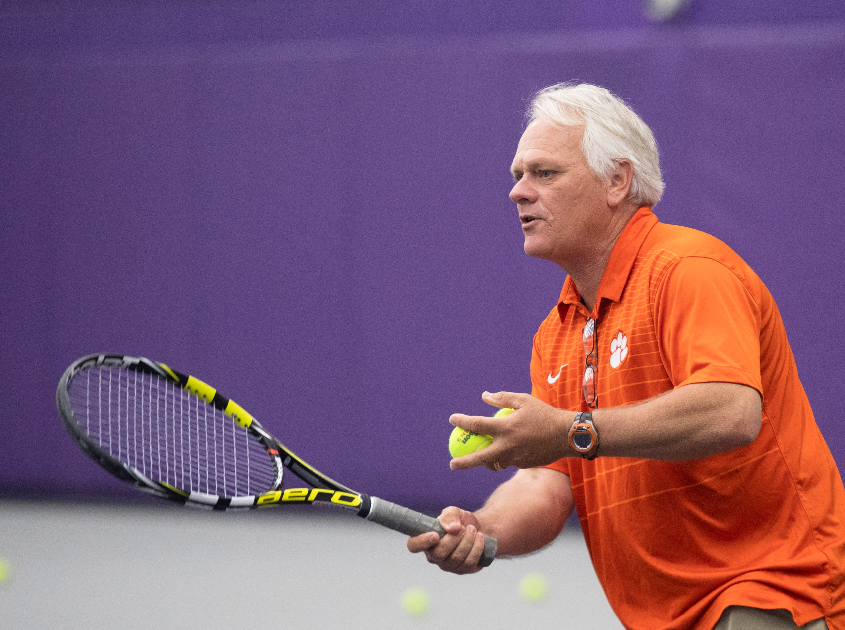 Chuck McCuen hits with Jeff Townsend during tennis practice at Clemson University Friday, May 3, 2019.