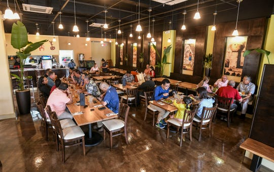 The seats begin to fill as lunchtime approaches at the Meskla Bistro - CHamoru Fusion restaurant, on the ground floor of the Grand Plaza in Tumon on Tuesday, May 7, 2019.