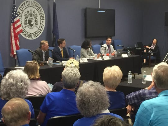 A penal of experts/activists on fairness laws debates the topic Monday evening in Henderson. From left are Richard Nelson, Josh Hershberger, Enid Trucious-Haynes and Chris Hartman.