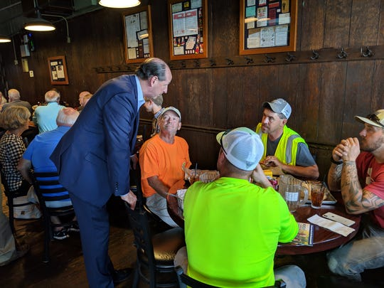 Democratic candidate for governor Rocky Adkins stopped by Metzger's Tuesday afternoon to talk to the lunch crowd.