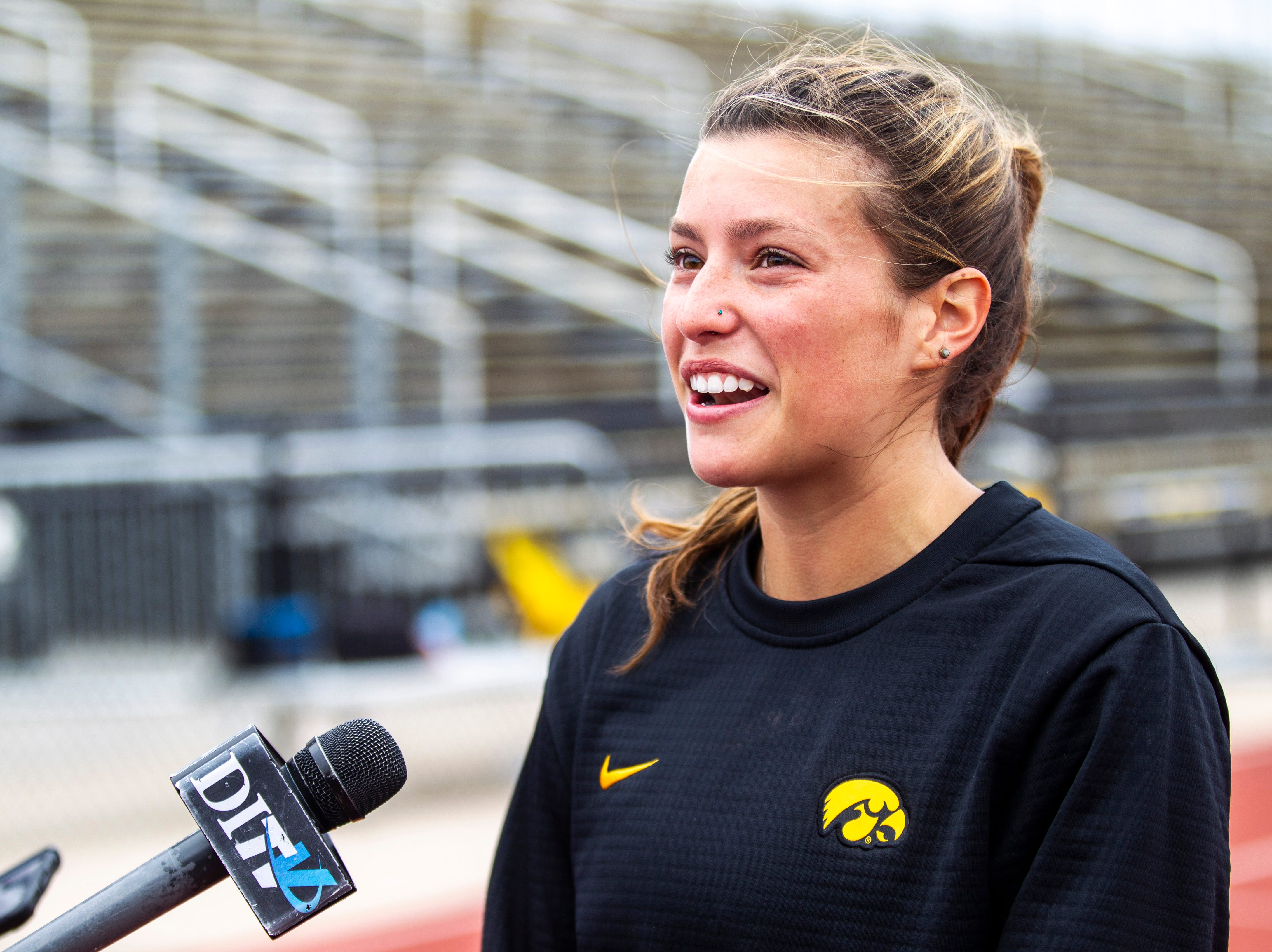 Iowa junior 800 meter runner Taylor Arco speaks with reporters, Tuesday, May 7, 2019, Francis X. Cretzmeyer Track in Iowa City, Iowa.