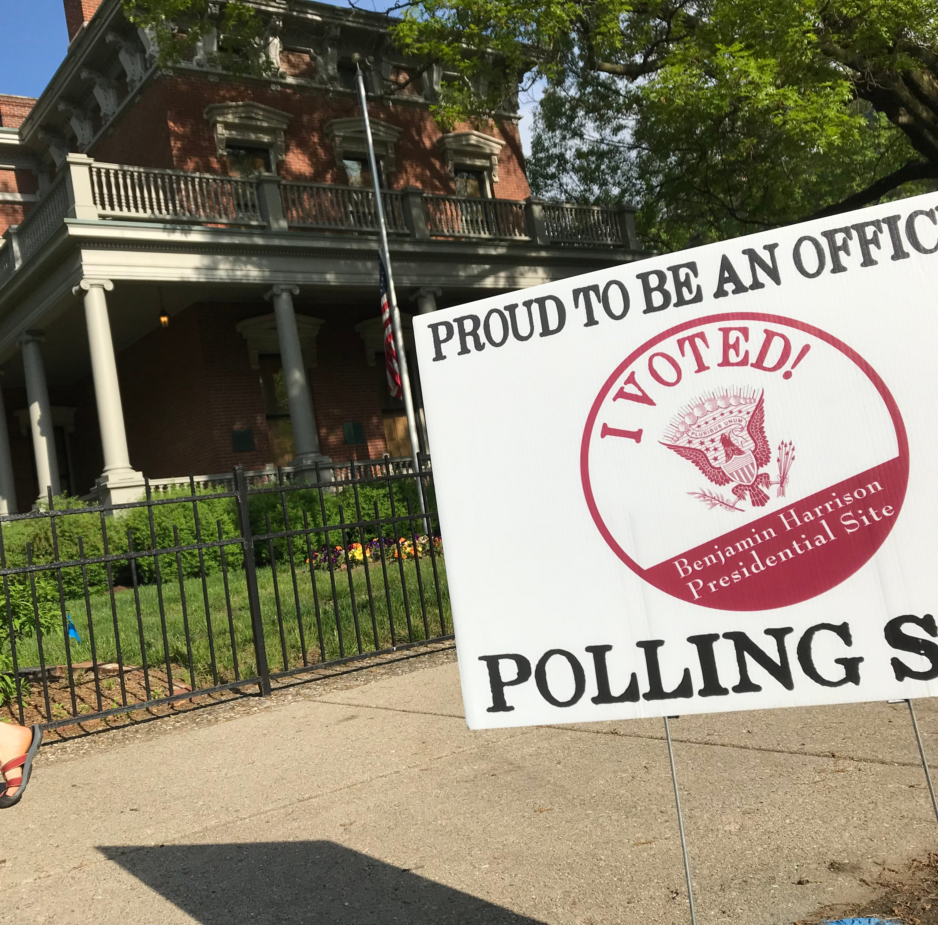 Voters head to the carriage house to cast their vote in the primary at the Benjamin Harrison Presidential Site, Tuesday, May 7, 2018.