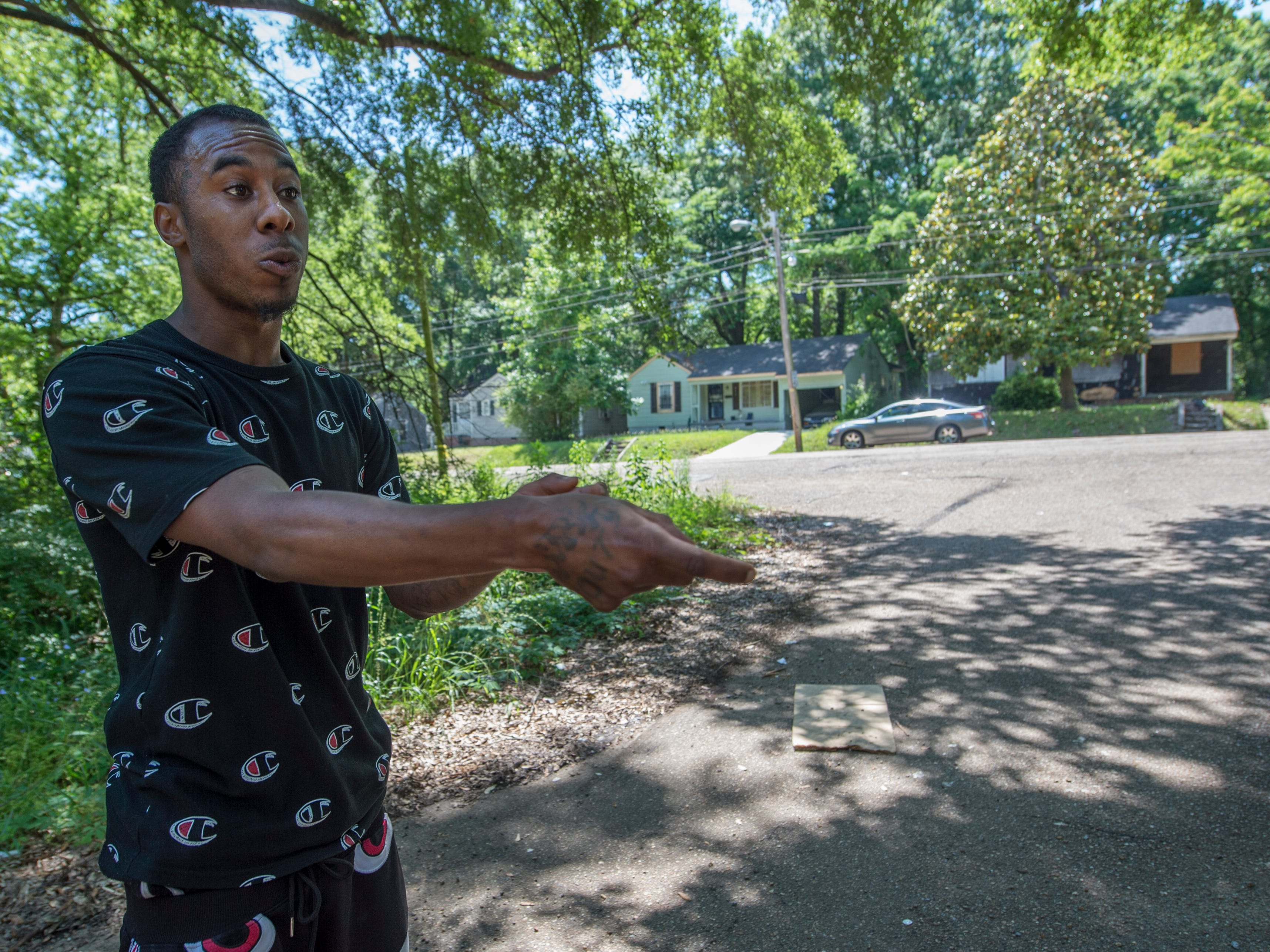 Johnathan Williams of Jackson, standing just feet from where he witnessed a woman being shot to death on Willing Avenue Sunday afternoon, describes what he saw. Maurice Clincy, 35, is charged with murder in the death of his 37-year-old girlfriend Nicole Newsome following a domestic dispute as the couple walked on Willing Avenue near the intersection of Ellis Avenue. Monday, April 6, 2019