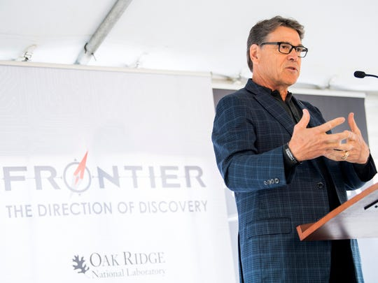 U.S. Energy Secretary Rick Perry speaks during an announcement ceremony for the next-generation Frontier supercomputer at Oak Ridge National Laboratory on Tuesday, May 7, 2019.
