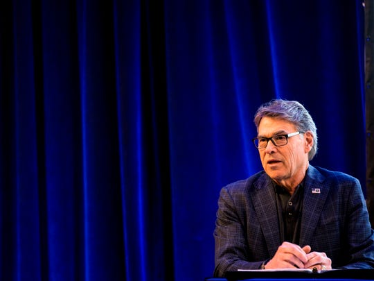U.S. Secretary of Energy Rick Perry speaks during a keynote address at Oak Ridge National Laboratory on Tuesday, May 7, 2019.