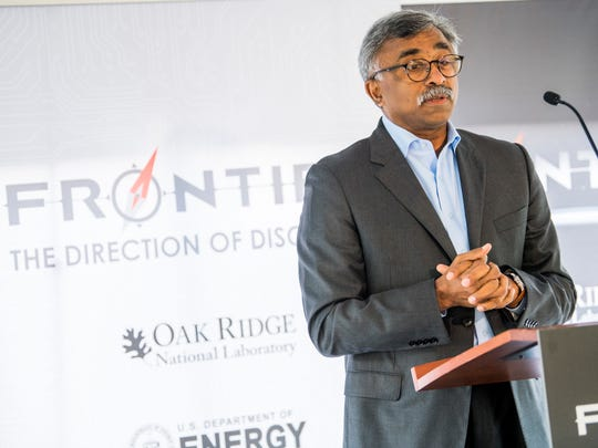 Oak Ridge National Laboratory Director Thomas Zacharia speaks during an announcement ceremony for the next-generation Frontier supercomputer at ORNL on Tuesday, May 7, 2019.