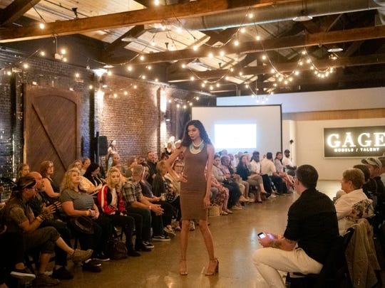 Styling by Georgia Queen clothing boutique for the Knoxville Fashion Week kick-off runway show at Jackson Terminal on Monday, May 6, 2019.