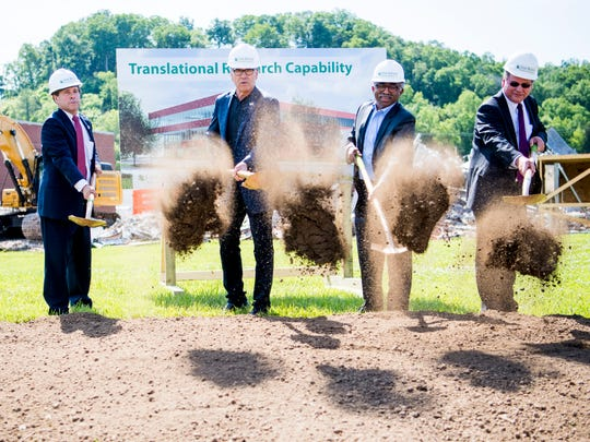 U.S. Energy Secretary Rick Perry, second from left, helps break ground on the Translational Research Capability facility at Oak Ridge National Laboratory on Tuesday, May 7, 2019.
