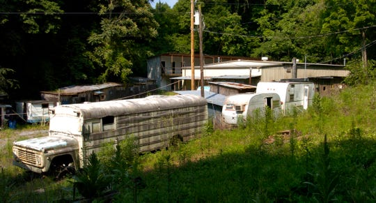 An exterior shot of some of the buildings involved in the cock fighting operation in Del Rio, Tenn. The Del Rio pit was raided by federal and state authorities in 2005.