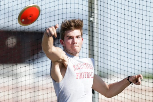 McCutcheon senior Blake Snyder won the discus and shot put events at Monday's City/County meet.