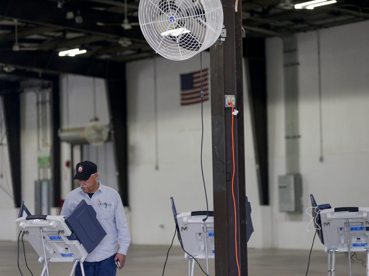 Anthony Cassida casts his ballot as he votes in the primary election, Tuesday, May 7, 2019 at the Tippecanoe County Fairgrounds in Lafayette.