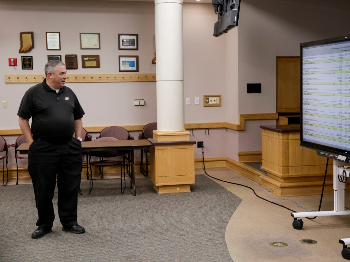 Lafayette city council member at large Kevin Klinker watches as the results from the primary election scroll on a monitor, Tuesday, May 7, 2019 at the Tippecanoe County Building in Lafayette.