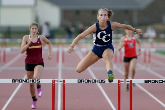 Central Catholic's Kayla Brady competes in the girls 300 meter hurdles during the Lafayette City County track meet, Monday, May 6, 2019 at Lafayette Jeff High School in Lafayette.
