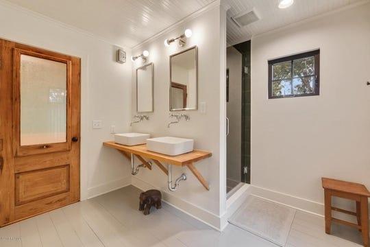 Modern bathroom, remodeled in 2017, boasts many amenities