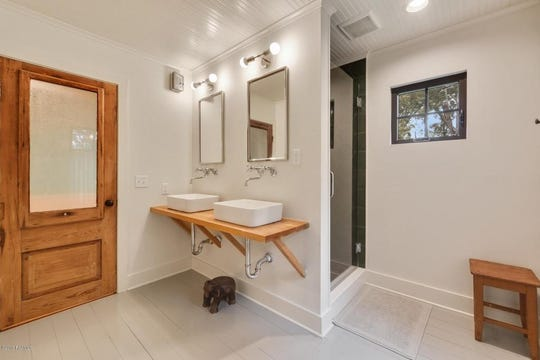 Modern bathroom, remodeled in 2017, boasts many amenities